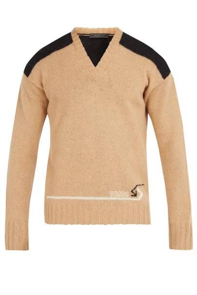 V-Neck Shoulder-Panel Wool Sweater by Prada