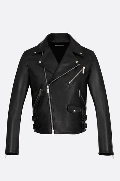 18. A black leather biker jacket