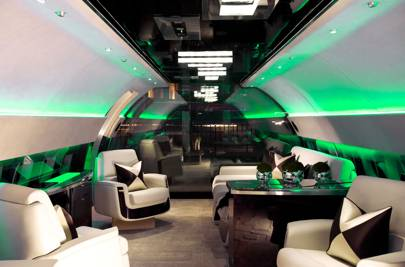 Inside a life-size mock-up of an Airbus AC J319