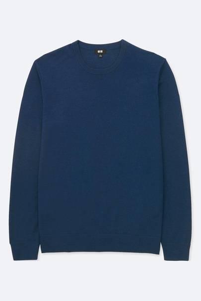 8. A navy blue merino wool crewneck