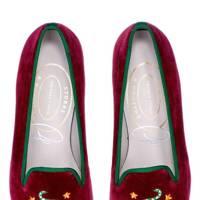 Velvet slippers by Stubbs & Wootton x Luke Edward Hall
