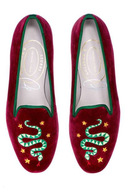 Velvet slippers by Stubbs & Wootton x Luke Edward Hall