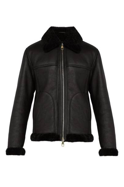 Shearling-trimmed leather jacket by Dunhill