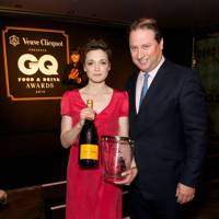 Ruth Spivey receives her best sommelier award from Jo Thornton