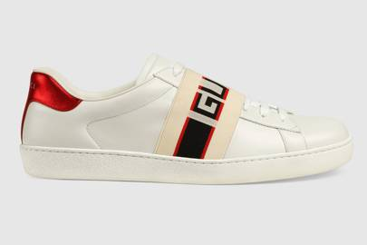 Stripe leather trainers by Gucci