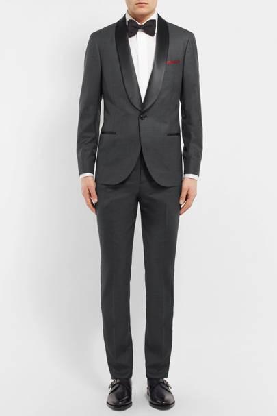 Wool and silk-blend grey tuxedo by Brunello Cucinelli