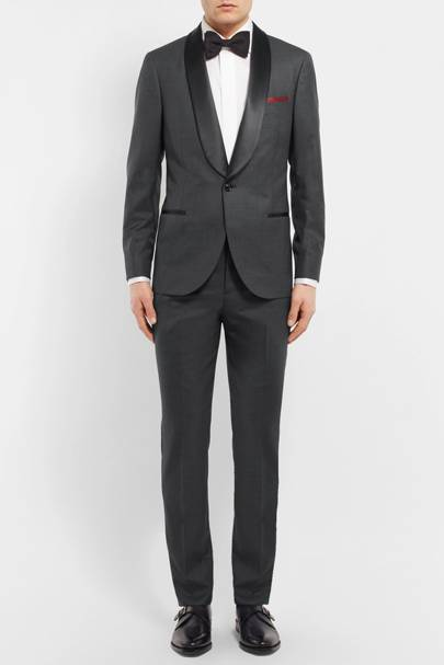 Wool and silk-blend grey tuxedo by Brunello Cucinelli